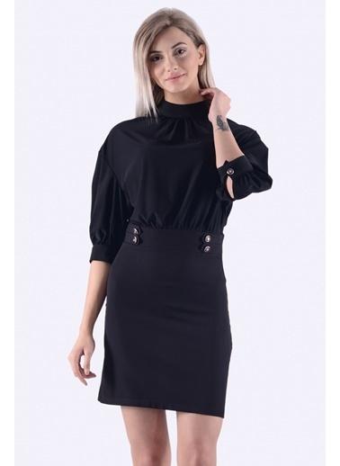 İroni Balon Kol Mini Elbise Siyah